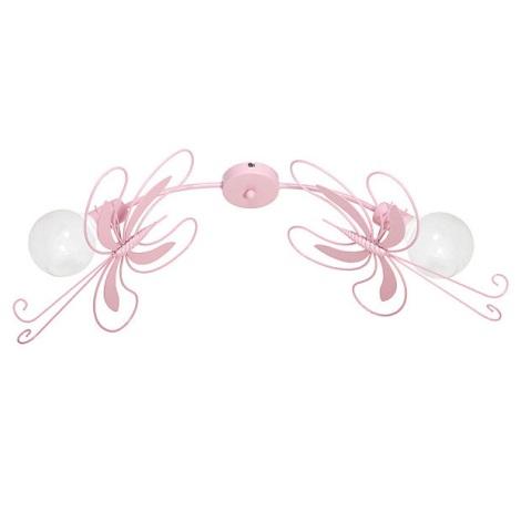 PILLANGÓ gyerek mennyezeti lámpa 2xE27/60W rózsaszín