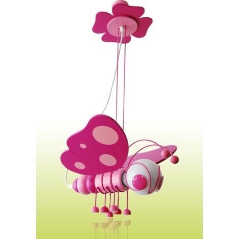 PREZENT 28106 - BUTTERFLY gyerek függeszték 1xE27/60W rózsaszín