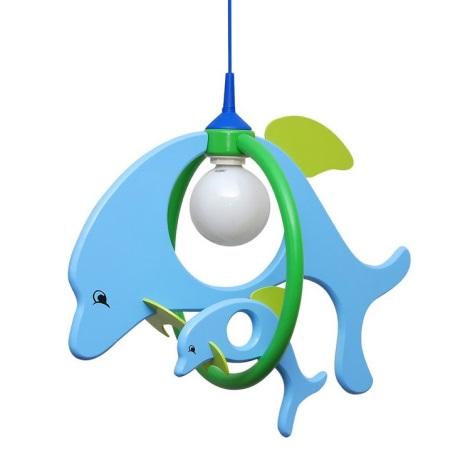 PREZENT 28115 - DOLPHIN FAMILY gyerek függeszték 1xE27/60W kék