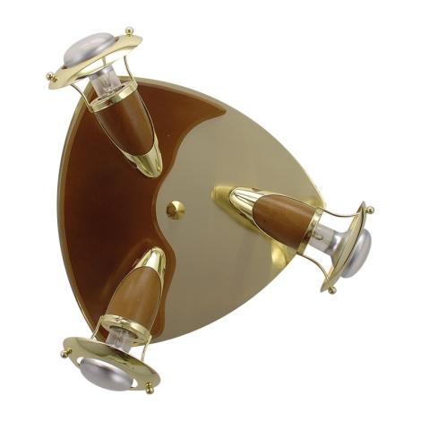 PREZENT 338 - ZEUS csillár 3xE14/R50/40W matt arany/sötét fa