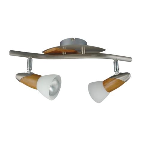 PREZENT 451 - REA mennyezeti lámpa  2xE14/R50/40W matt króm/sötét fa