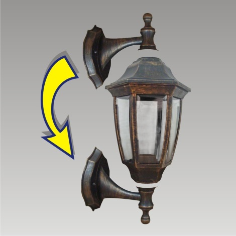 PREZENT 48300 - NICOSIA kültéri fali lámpa 1xE27/60W fekete/arany IP44