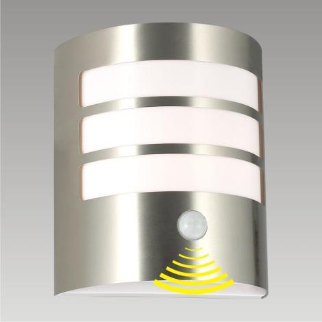 PREZENT 61006 - TOLEDO szenzoros kültéri fali lámpa 1xE27/11W rozsdamentes acél IP44