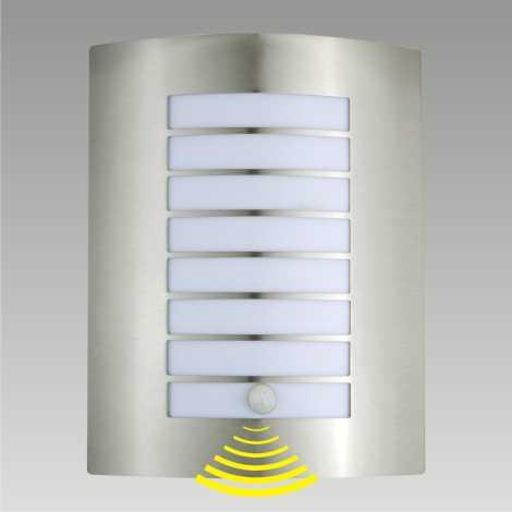 PREZENT 66001 - MEMPHIS szenzoros kültéri fali lámpa 1xE27/60W rozsdamentes acél IP44