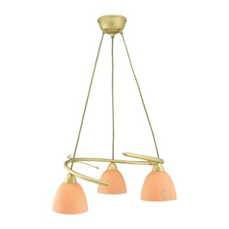 PREZENT 93106 - ROTO csillár 3xE27/60W arany/narancs