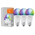 SET 3x LED RGBW Dimmelhető izzó SMART+ E27/9,5W/230V 2700K-6500K Wi-Fi - Ledvance