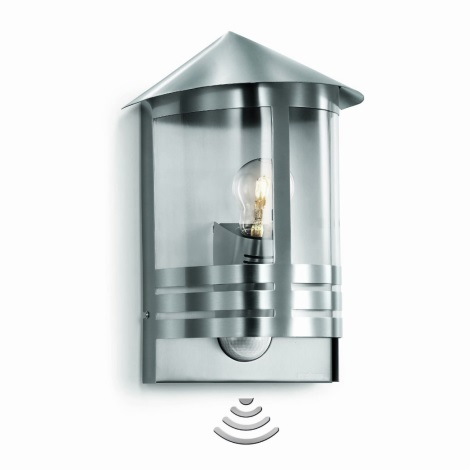 STEINEL 645311 - L 170 S szenzoros fali lámpa 1xE27/100W  rozsdamentes acél